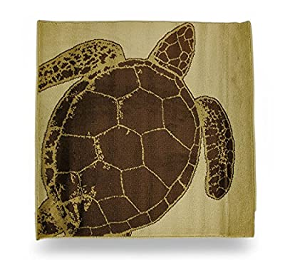 Beige and Brown Sea Turtle Square Accent Rug 32 in.