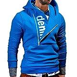 WM & MW Men's Hoodies Long Sleeve denm Letter Print Half Side Zipper Hooded Sweatshirt Tops Pullover Coat (2XL=(US:XL), Blue)