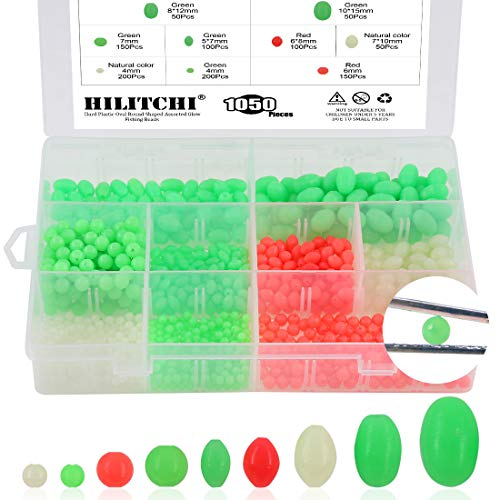 Hilitchi 1050 Pcs 9 Sizes All Luminous Fishing Beads Assorted Hard Plastic Oval Round Shaped Glow Eggs for Stream Pool Lake River Fishing (All Glow in The Dark)