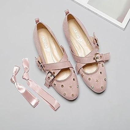 GAOLIM Hembra con Resorte Solo Zapatos Zapatos De Ballet De Fondo Plano Remaches Zapatos Atados con