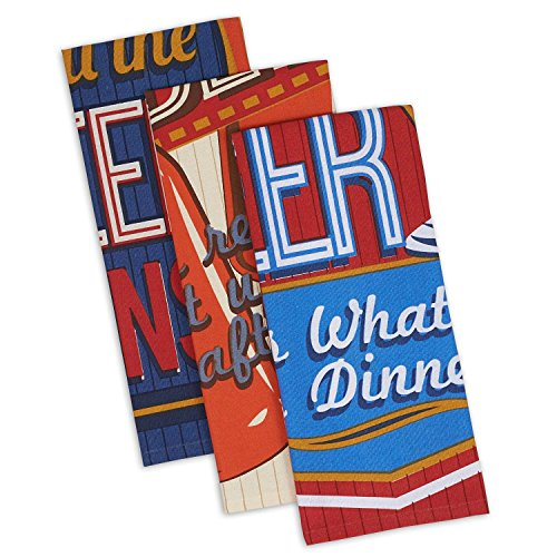 DII Cotton Retro Beer Dish Towels, 18 x 28 Set of 3, Decorative Oversized Kitchen Towels for Everyday Cooking and Baking Retro Kitchen Towels