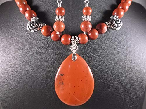 Gemstone Natural RED Jasper Sterling Silver Design Pendant Necklace Earring Set DF-69