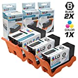 LD Compatible Set of 3 (Series 23) High Yield Black & Color Ink Cartridges for the Dell V515w Printer: 2 Black T105N, 1 Color T106N