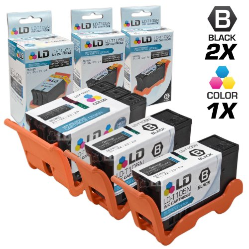 LD Compatible Ink Cartridge Replacement for Dell V515w Series 23 High Yield (2 Black, 1 Color, 3-Pack) 23 Compatible Replacement Cartridge Color