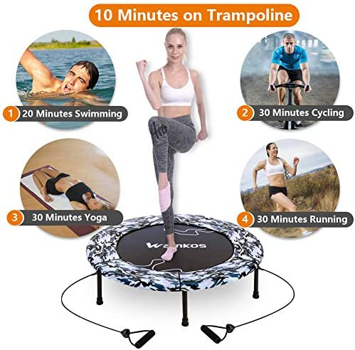 """2020 Upgraded Wamkos 40"""" Rebounder Mini Exercise Trampoline for Adults Kids,Indoor Foldable Fitness Trampoline Trainer with Resistance Bands for Sports & Outdoor,Yoga and Other Jumping Cardio Exercise 3"""