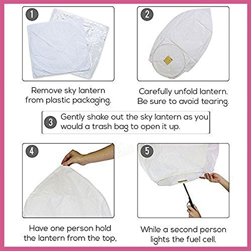 Just Artifacts 5 ECO Wire-Free Flying Chinese Sky Lanterns (Set of 5, Wire-Free Heart, Pink) - 100% Biodegradable, Environmentally Friendly Lanterns!