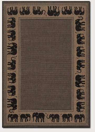 Couristan 1588/1021 Recife Elephant Cocoa/Black Runner Rug, 2-Feet 3-Inch by 7-Feet 10-Inch
