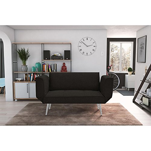 DHP Euro Sofa Futon Loveseat with Chrome Legs and Adjustable Armrests - Black Oak Traditional Bed Set