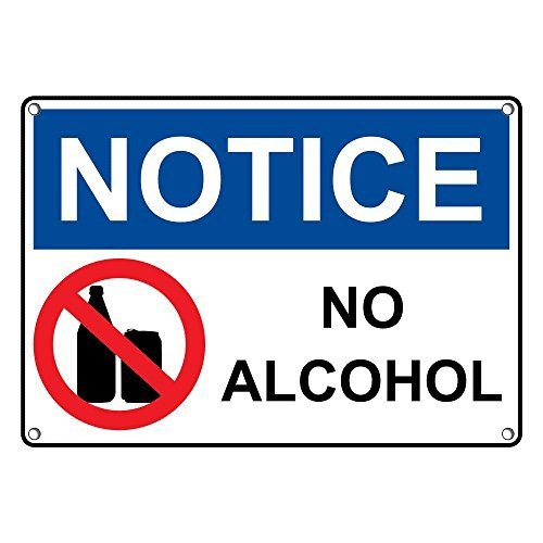 (Weatherproof Plastic OSHA Notice No Alcohol Sign with English Text and Symbol)