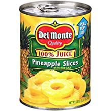 Del Monte Canned Pineapple Slices in 100% Juice, 20-Ounce (Pack of 12)