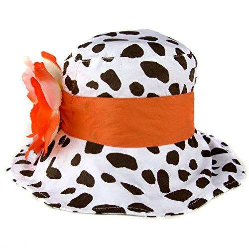 Claire's Little Girl White Floppy Sun Hat with Orange Flower