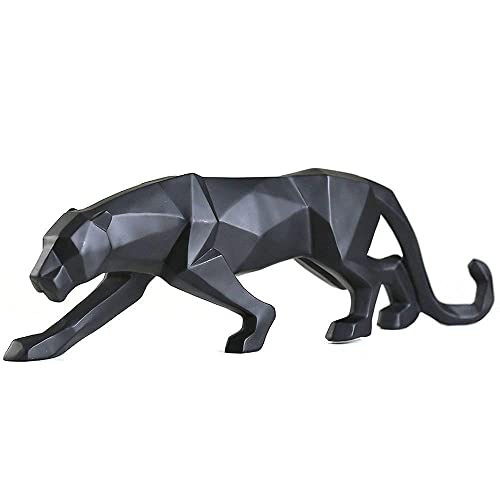 FJWYSANGU Abstract Leopard Statues Panther Sculpture Hand Craved Animal Resin Modern Home Decoration Big Black