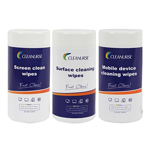 CLEANURSE Multi-function Cleaning Wipes for Monitors, Tablets, Laptops, Watch, Lenses, VR, Coated glass, Smart phones and Anti-glare Filters, 100 Count per Canister