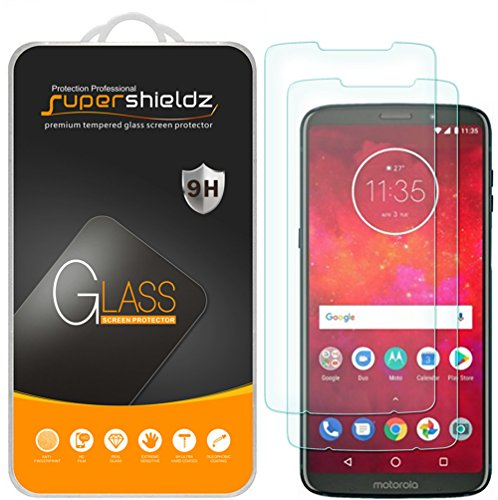 (2 Pack) Supershieldz for Motorola Moto Z3 and Moto Z3 Play Tempered Glass Screen Protector, Anti Scratch, Bubble Free (Screen For Motorola Phone)