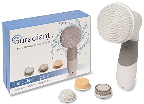 PURADIANT Face and Body Sonic Cleansing Brush - Perfect for Travel -Exfoliates - Cleans Pores - Reduces Acne - 4-in-1 Brush - Pumice For Feet and Hands - Soft and Sponge Brush - Hanging Cord (Regular)