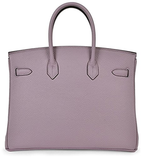Genuine Padlock Taro Leather Classic Handbags Tote Women's Purple wHx75q8I