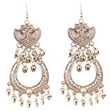 Touchstone New Tribal Bohemian Chic Indian Bollywood Ethnic Afghani Peacock Theme Fine Embossing Designer Jewelry Long Chandelier Earrings in Silver Tone for Women.