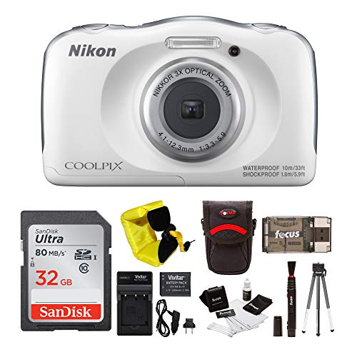 Nikon COOLPIX W100 Waterproof Digital Camera (White) + 32GB Card + Battery with Charger + Kit ()