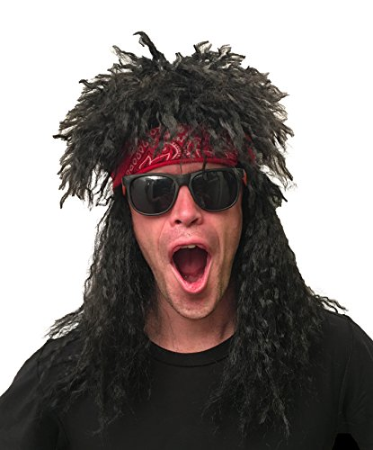 80s Rocker Wig 80s Costume: Black 80s Wigs for Men Rocker Wig Mens Rockstar Wig 80's Wig Rockstar Wig Mens 80's Rocker Costume 80's Costume for Men (Black, 2-Tone, -