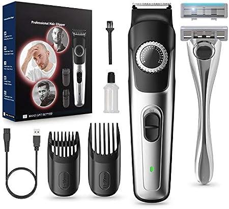Máquina Cortar Pelo y Recortadora de Barba Para Hombre, Afeitadora Barba Hombre, Cortadora de Pelo Inalámbrico Recargable USB, 39 Ajustes de Longitud