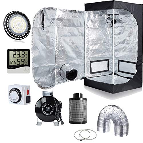 (Hydro Plus 300W Full Spectrum UFO LED Light + 24''x24''x48'' Grow Tent + 4'' Inline Fan Filter Duct Combo + Hygrometer + 24-Hour Timer Indoor Grow Tent Complete Kit)