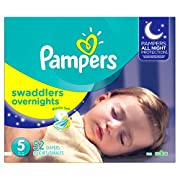 Pampers Swaddlers Overnights Disposable Diapers Size 5, 52 Count, SUPER