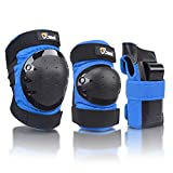 JBM international Adult / Child Knee Pads Elbow Pads Wrist Guards 3 In 1 Protective Gear Set, Blue, Adults