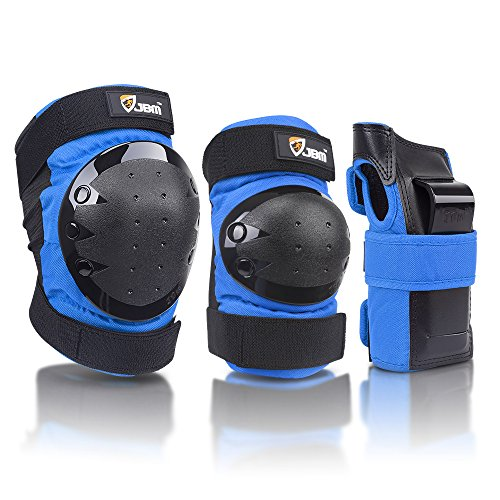 JBM international Adult / Child Knee Pads Elbow Pads Wrist Guards 3 In 1 Protective Gear Set, Blue, - Elbow Knee