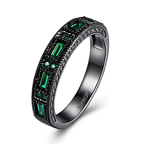 Homemade Basketball Hoop Costumes (Eternity Love Wedding Bands Women's 18K Black Gold Plated Rings Princess Cut Blue/Green/Purple CZ Crystal Engagement Rings Best Promise Rings Anniversary Wedding Rings for Lady Girl, Green, 8)