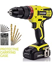 "CACOOP 20V Hammer Drill/Driver set, 2-Speed, ½""All-Metal Chuck, Included 1)2.0Ah Li-Ion battery,1) rapid charger,12) wood drill bits,6) screwdriver Bits & 1) Magnetic Bit Holder"