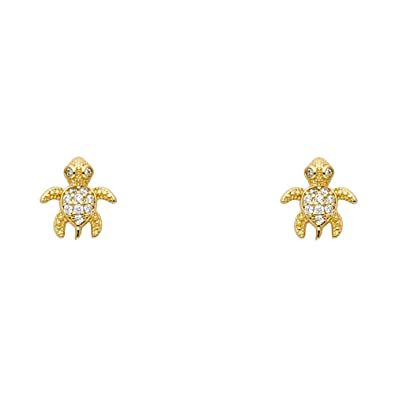 85fdc017d Amazon.com: 14k Yellow Gold Turtle Stud Earrings with Screw Back: Jewelry