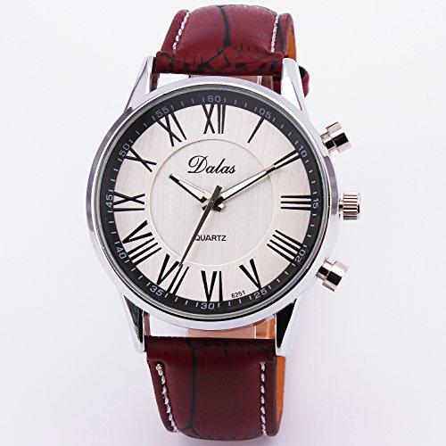 Classic Vintage Retro Fashion Business Casual Men Quartz Wrist Watch Leather Strap Relogio Masculino