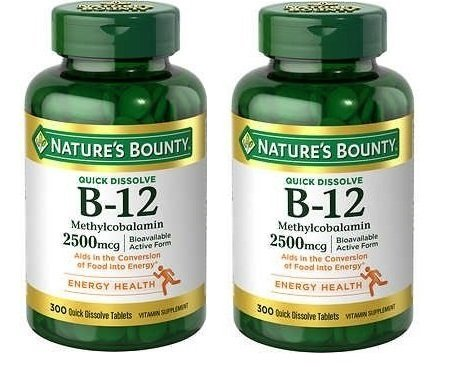 Nature's Bounty 2 Pack Quick Dissolve Fast Acting 2500 mcg Vitamin B-12 Methylcobalamin Natural Cherry Flavor (300 tablets) (Two Bottles each of 300 Tablets) by Nature's Bounty