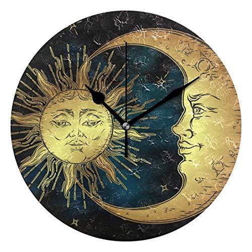 IVERS Art Sun and Moon Face Novelty Art Decorative Round Wall - Sun Wall Face Clock