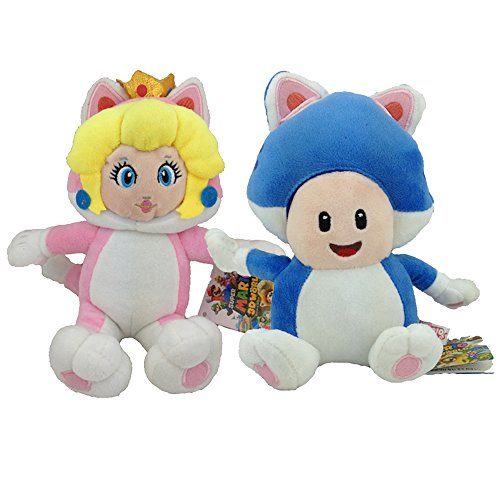 Super Mario 3D World Cat Peach Princess Cat Toad Plush Toy Stuffed Animal Soft Figure (Pack of 2) (World 3d Super Plush Mario Cat)