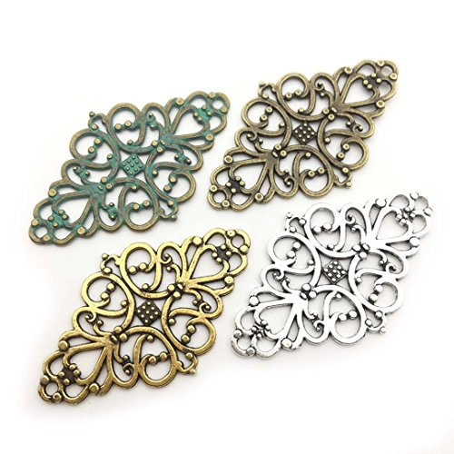 40 PCS Flower Connector Charms Collection - Antique Gold Silver Bronze Patina Colors Lozenge Rhombus Filigree Metal Pendants for Jewelry Making DIY Findings (HM58) - Charm Flower Filigree