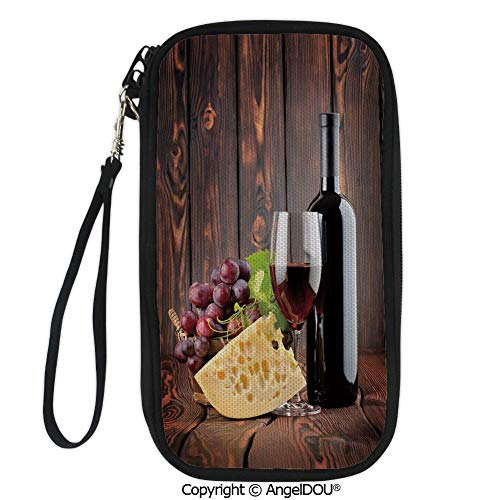 PUTIEN New Fashion Card Holder Wallets Red Wine Cabernet Bottle and Glass Cheese and Grapes on Wood Planks Print Decorative for Men Women Travel Business.