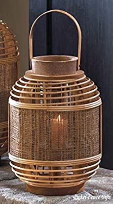Bamboo Garden Candle Lantern Small With Hurricane Glass Cylinder