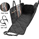 SUNTQ Dog Car Seat Covers, Non-Scratch & Non-Slip Dog Seat Cover with Mesh Window & Storage Pocket,Easy to Install & Clean, Durable Pet Back Seat Cover for Car, Truck and SUV(Gift: 2 Seat Belt