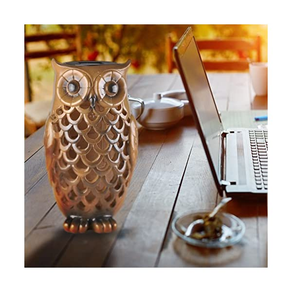 Solar-Powered-Owl-Light-Decoration-Ultra-Durable-Polyresin-Highest-Capacity-Battery-Intricate-Detailing-Wireless-Outdoor-Accent-Lighting-Best-Decor-Ornament-for-Garden-Patio-Yard-Bronze-Brown