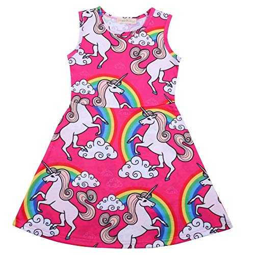 AYOMIS Girl's Unicorn Rainbow Dress, Animal Pattern Printed
