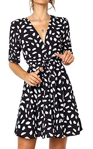 Angashion Women's Dresses - Button Deep V Neck Floral Printed Short Sleeve Drawstring Tie Waist Mini Dress Black L