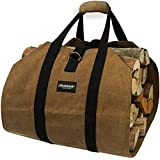 Amagabeli Fire Place Sturdy Wood Carring Bag with Handles Security Strap for Camping Indoor Firewood Logs Tote Holder…
