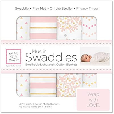 SwaddleDesigns Cotton Muslin Swaddle Blankets, Set of 4, Pink Heavenly Floral - 10159908 , B072624R8P , 285_B072624R8P , 1442816 , SwaddleDesigns-Cotton-Muslin-Swaddle-Blankets-Set-of-4-Pink-Heavenly-Floral-285_B072624R8P , fado.vn , SwaddleDesigns Cotton Muslin Swaddle Blankets, Set of 4, Pink Heavenly Floral