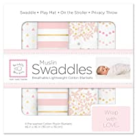 SwaddleDesigns Cotton Muslin Swaddle Blankets, Set of 4, Heavenly Floral Pink