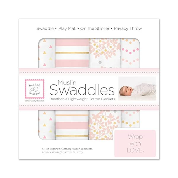 SwaddleDesigns Cotton Muslin Swaddle Blankets, Set of 4, Pink Heavenly Floral