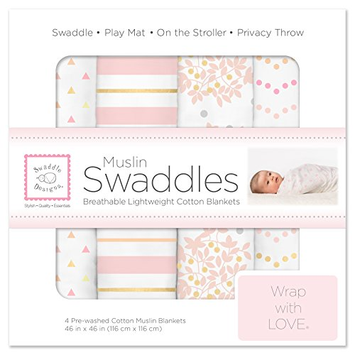 SwaddleDesigns Cotton Muslin Swaddle Blankets, Set of 4, Pink Heavenly Floral (Muslin Swaddling Blanket)