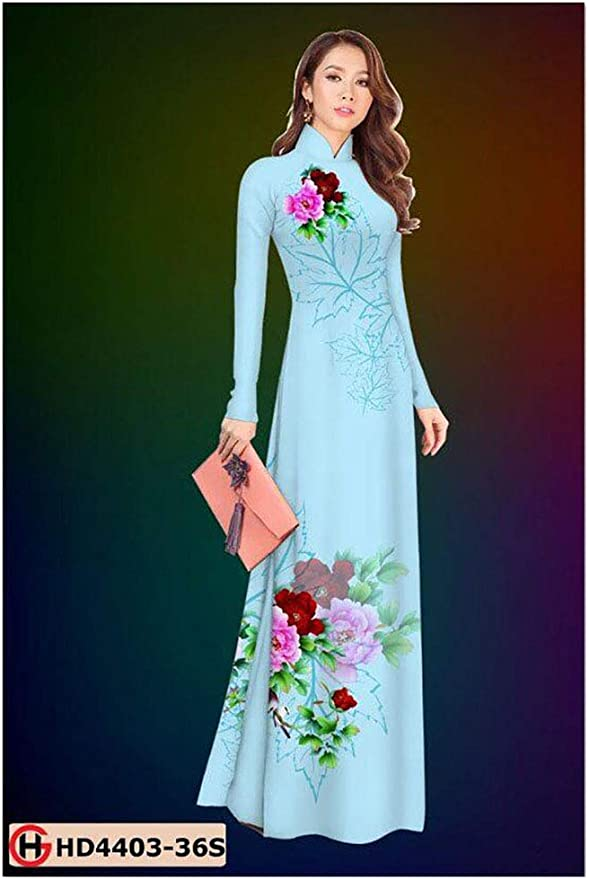 Silk 3D ADVN3D28 Traditional Vietnamese Long Dress Collections with Pants Ao Dai