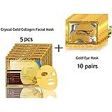 24K Gold Collagen Mask, 5 Packs Facial Mask + 10 Pairs Gold Eye Mask Anti-Wrinkle Dark Circles and Puffins Skin Whitening & Moisturizing Treatment - Bio-collagen Crystal Facial Mask