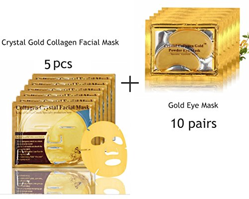 24K Gold Collagen Mask, 5 Packs Facial Mask + 10 Pairs Gold Eye Mask Anti-Wrinkle Dark Circles and Puffins Skin Whitening & Moisturizing Treatment - Bio-collagen Crystal Facial Mask by AL'IVER